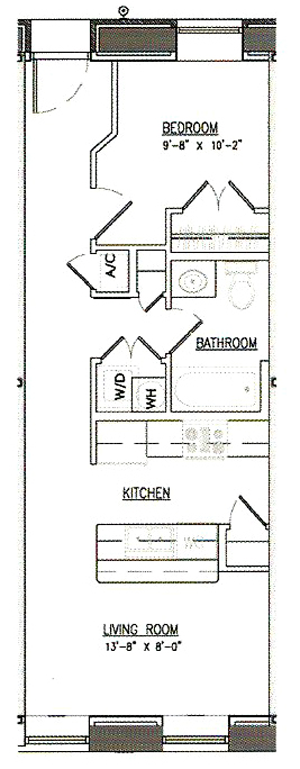 Unit A-1 - One Bedroom / One Bath - 576-815 Sq.Ft.*