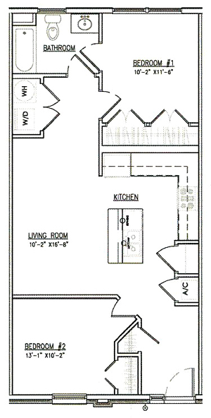 Two Bedroom / One Bath - 840-863 Sq.Ft.*