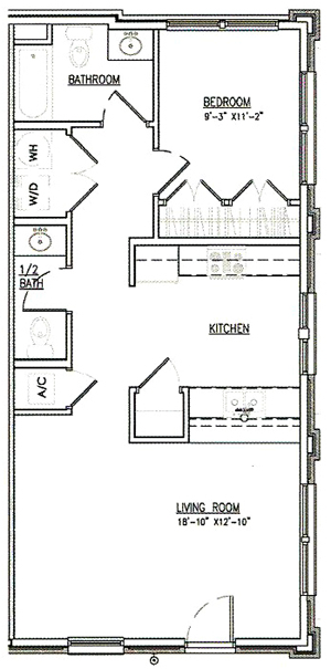 One Bedroom / One and 1/2 Bath - 845 Sq.Ft.*